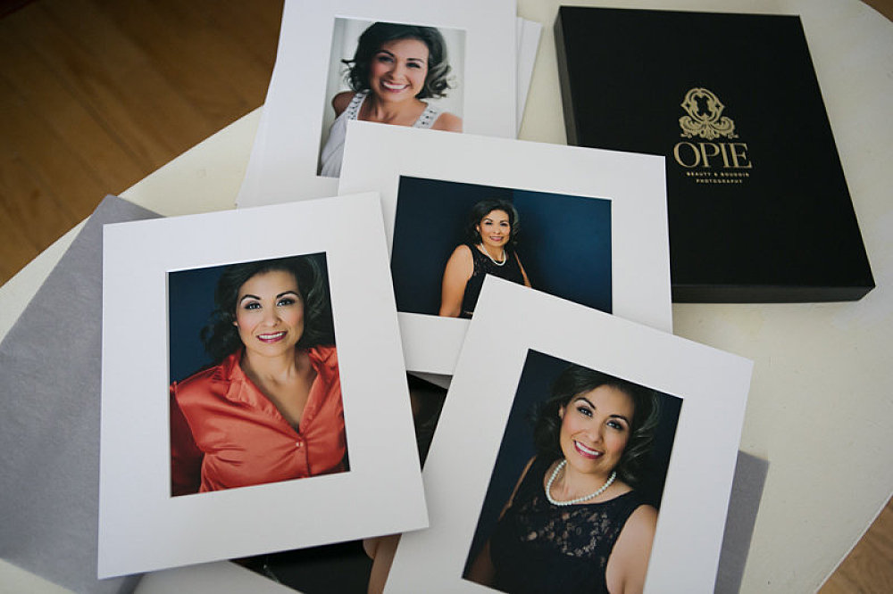 matted prints in a photography box headshot