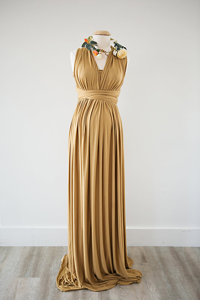 mustard colored maternity gown with flower crown