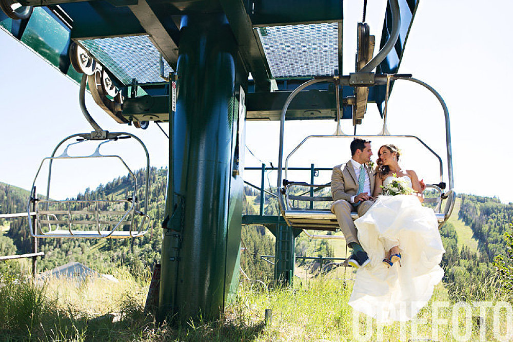 bride and groom park city utah
